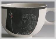 """Café au lait-Tasse Dekor """"Pharaonin"""""""